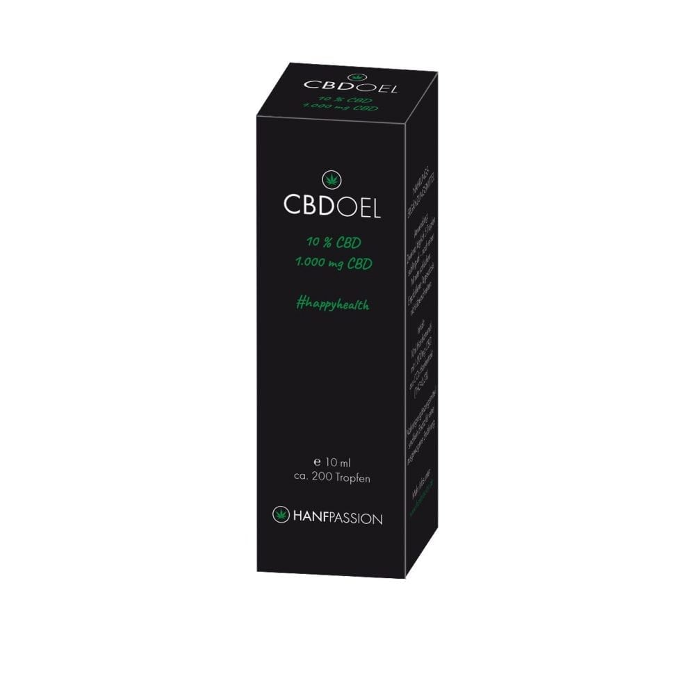 CBD Öl 10% bedeutet 1000 mg CBD in Ml Extrakt. Auf dem Bild ist nur die Verpackung vom CBD Öl 10% zu sehen. Das HANFPASSION CBD Öl wird nach höchsten europäischen Apothekenstandards hergestellt und so ist es das hochwertigste CBD Öl auf dem gesamten Cannabidiol Markt.