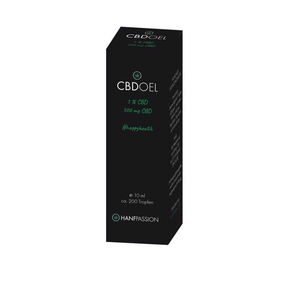 Das CBD Oel 5% von Hanfpassion enthält 500 mg CBD in 10 ml Öl und damit ist das höchstens geeignet für Leute, die mit CBD-Konsumieren erst gerade loslegen. Die Verpackung ist elegant und schwarz, mit grünen Sonderschriften, welche auf die Eigenschaften vegan, lactosenfrei und glutenfrei hinweisen.