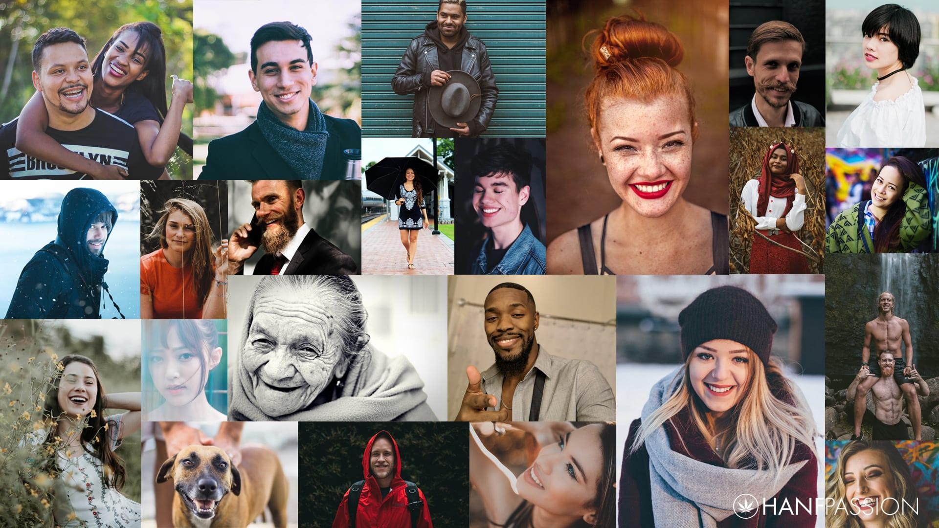 HANFPASSION steht für höchste Qualitätsprodukte aus Cannabis. Das Bild ist eine Montage von mehreren Fotos und auf den einzelnen Fotos sind Menschen mit großem Lachen auf dem Gesicht.